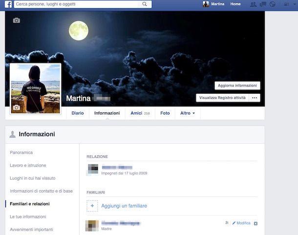 Screenshot delle informazioni del profilo Facebook