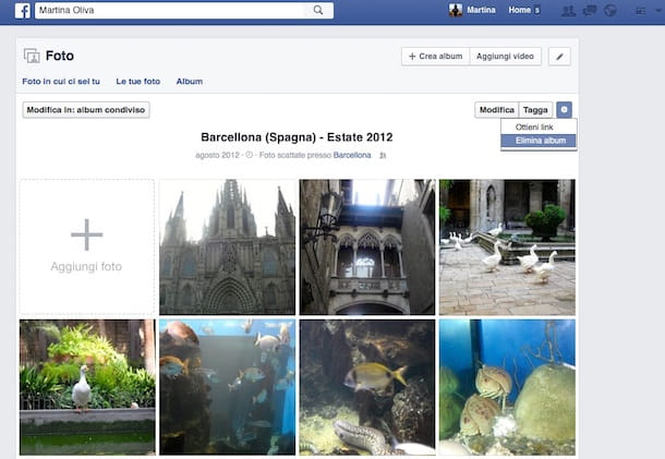 Screenshot della sezione Foto di Facebook