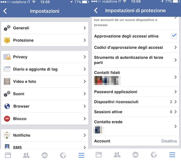 Screenshot di Facebook da iPhone