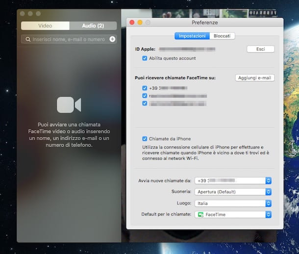 Screenshot che mostra FaceTime su Mac
