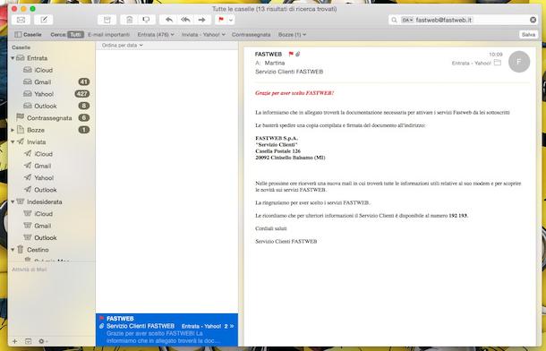 Screenshot della documentazione inviata da fastweb per il cambio gestore