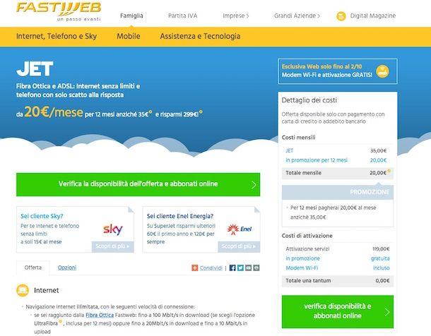 Screenshot del sito Internet di Fastweb