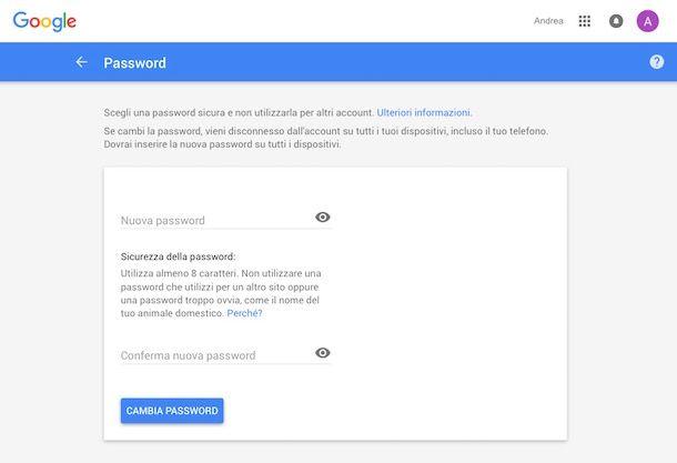 Come cambiare password Google