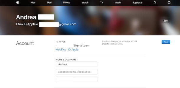 Cambiare email ID Apple