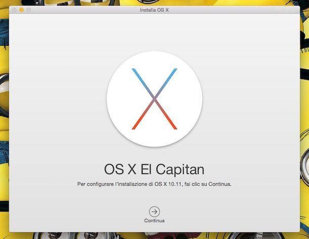 Screenshot che mostra l'installazione di OS X El Capitan
