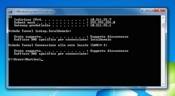 Screenshot di windows che mostra l'indirizzo IP del router