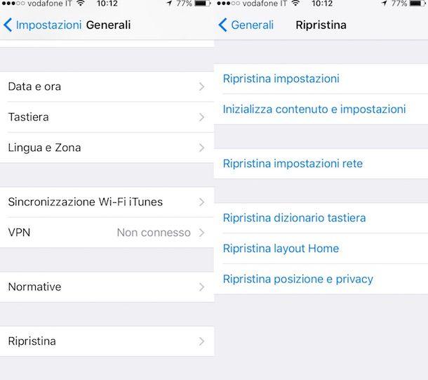Screenshot Impostazioni iPhone
