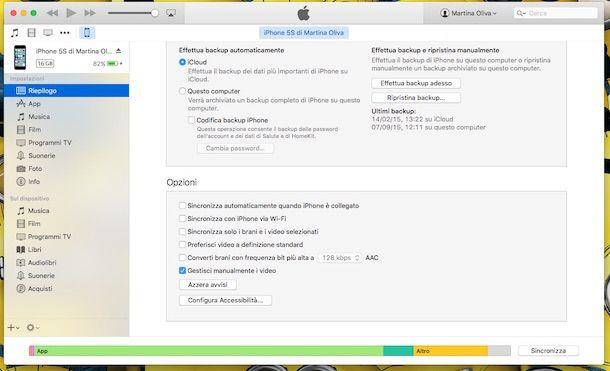Screenshot di iTunes su Mac