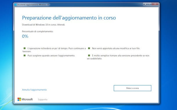 Come aggiornare a Windows 10