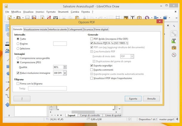 Screenshot dell'installazione di LibreOffice