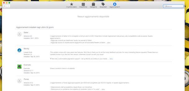 Screenshot Aggiornamenti Mac App Store