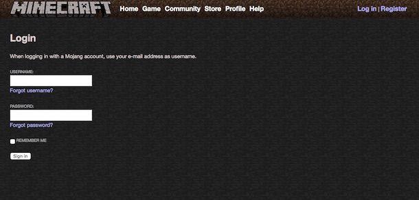 Screenshot del sito Internet di Minecraft