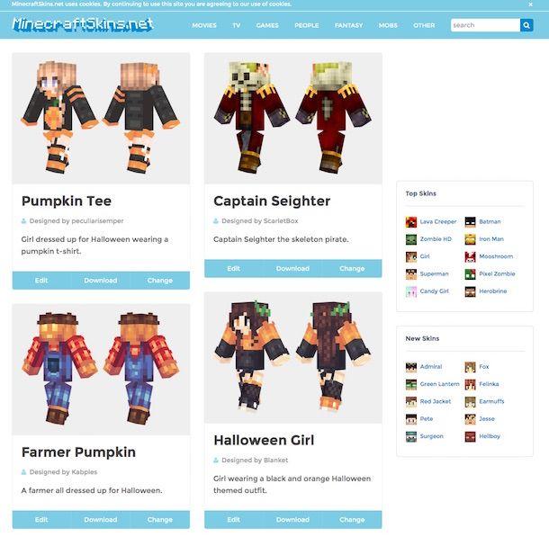 Screenshot di MinecraftSkins.net
