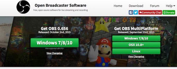 Screenshot della pagina Web del software OBS