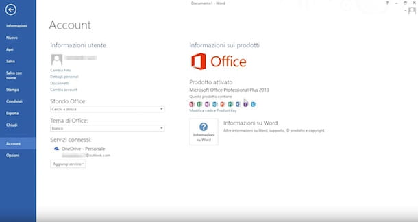 Screenshot che mostra come attivare Office 2013