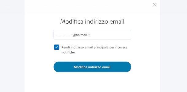 Come modificare email PayPal
