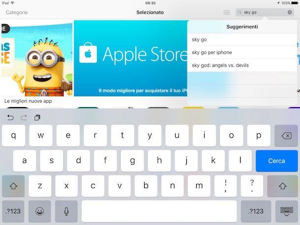 Screenshot di Sky Go su iPad