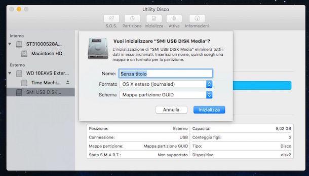 Screenshot di Utility Disco su Mac