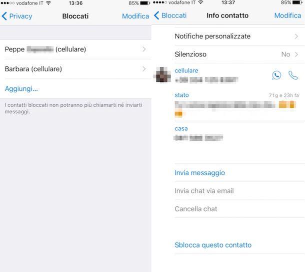 Screenshot delle impostazioni di WhatsApp