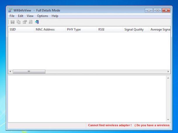 Screenshot del software WifiInfoView su Windows