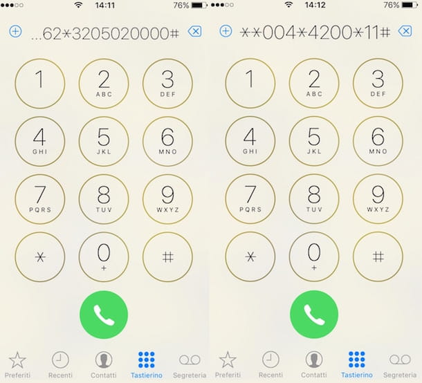 Screenshot del dialer di iPhone