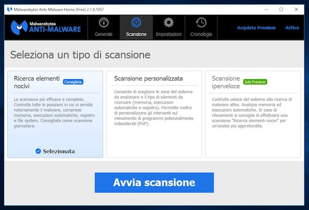 Screenshot di Malwarebytes Antimalware