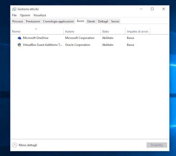 Screenshot di Gestione attività su Windows 10