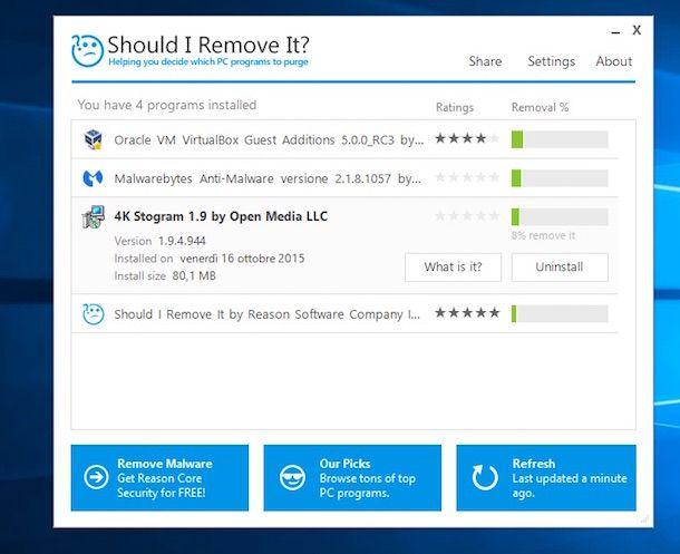 Screenshot di Should I Remove It? su Windows 10