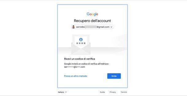 Reimpostare password Google da PC
