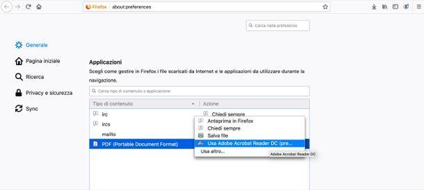 Abilitare Adobe Reader in Mozilla Firefox