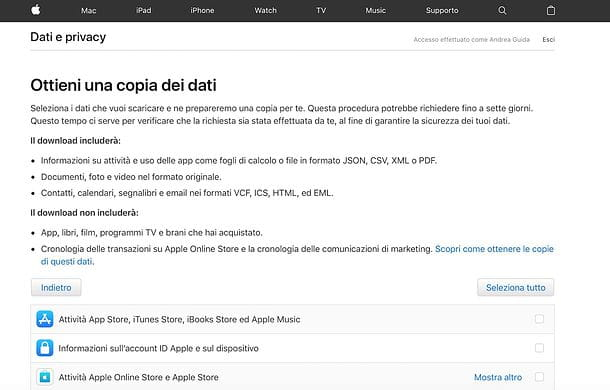Download dati Apple