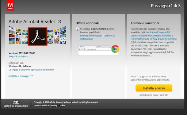 Screenshot del download di Adobe Reader