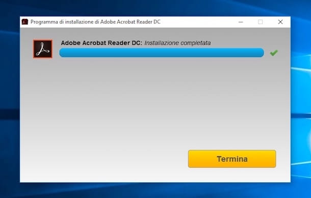 Screenshot dell'installazione di Adobe Reader