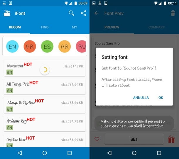 Come cambiare font Android