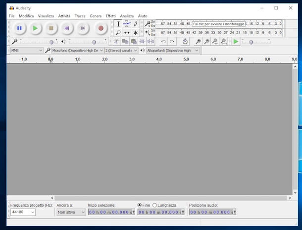 Screenshot del software Audacity su Windows