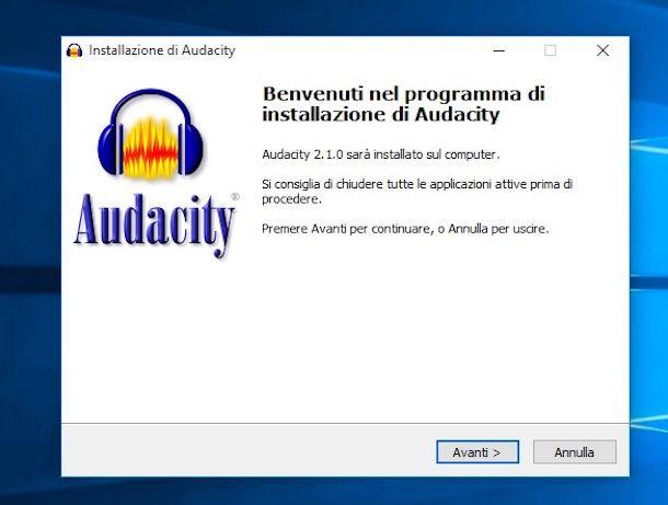 Screenshot del software Audacity su Windows