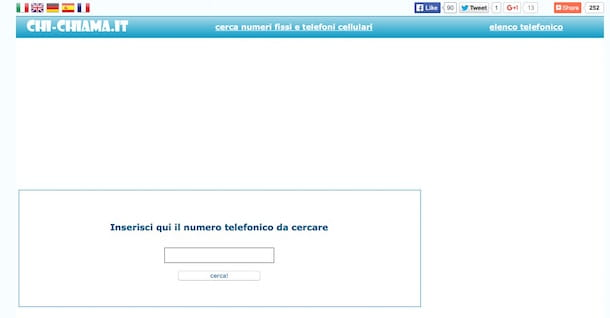 Screenshot del servizio online Chi Chiama