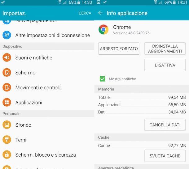 Screenshot che mostra come disattivare Chrome su Android
