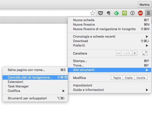 Screenshot di Google Chrome su Mac