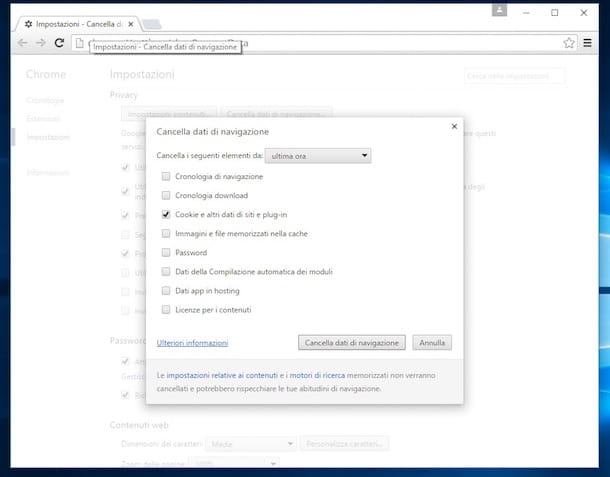Screenshot di Google Chrome su Windows