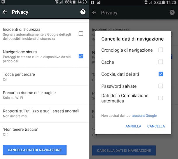 Screenshot di Google Chrome su Android