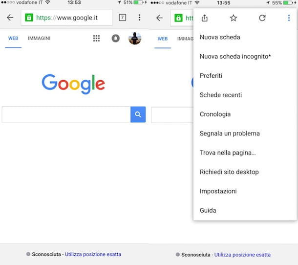 Screenshot di Google Chrome su iOS