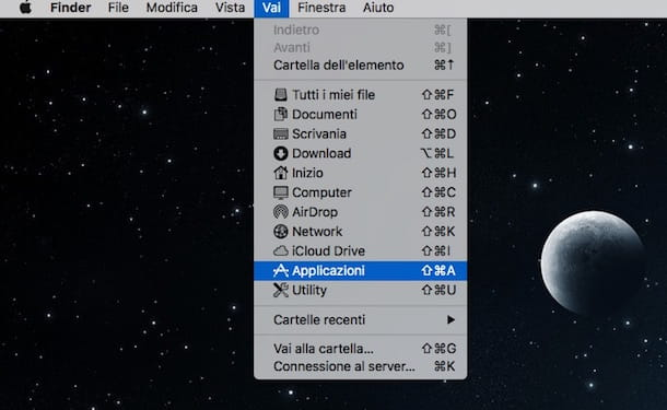 Screenshot di OS X che mostra come disinstallare Chrome