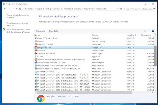 Disinstallare Chrome da Windows