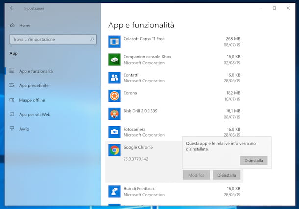 Disinstallare Chrome da Windows 10