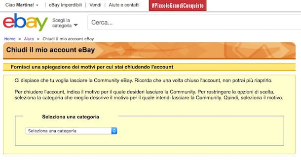 Screenshot di eBay