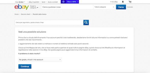 Eliminare account su eBay