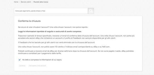 Eliminare account eBay da computer