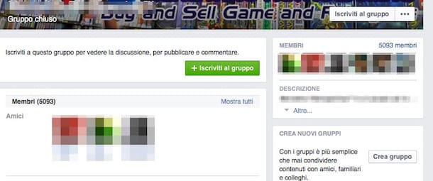 Screenshot di Facebook