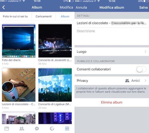 Screenshot di Facebook su iPhone